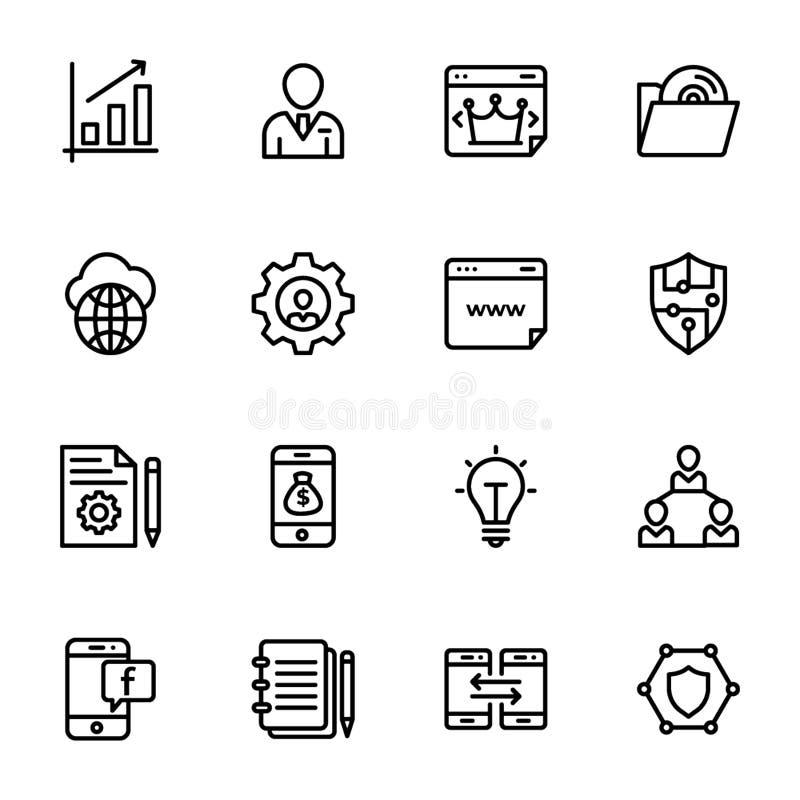 Reeks de Lijnpictogrammen van Seo en van het Web vector illustratie