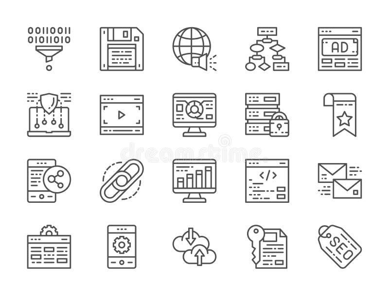 Reeks de Lijnpictogrammen van SEO en Marketing Het ontvangen, Referentie, Hyperlink en meer stock illustratie