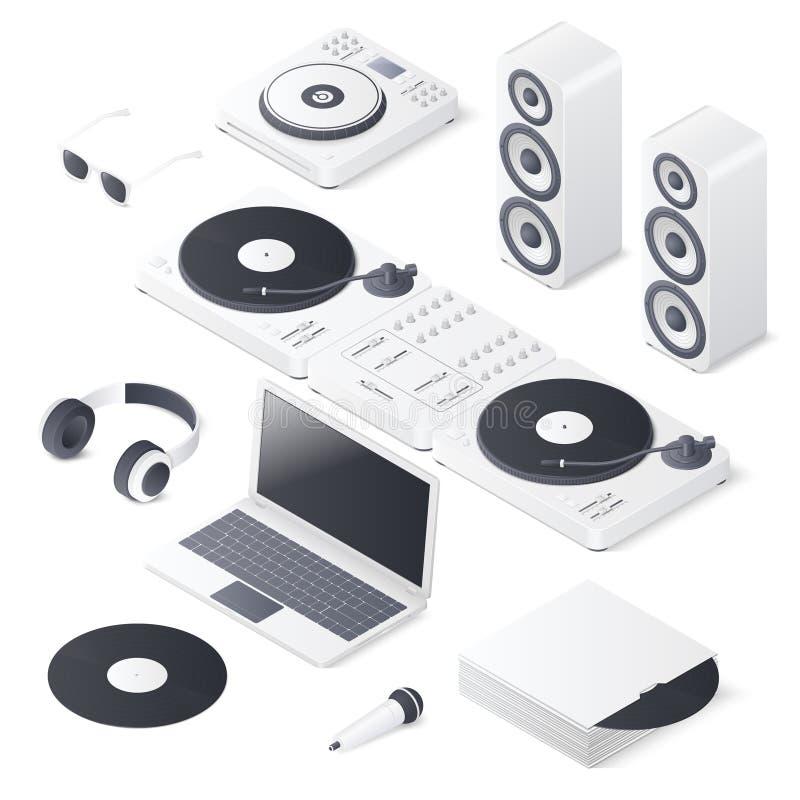 Reeks de mengelingsapparaten van DJ op witte achtergrond wordt geïsoleerd die Isometrische Vectorillustratie royalty-vrije illustratie