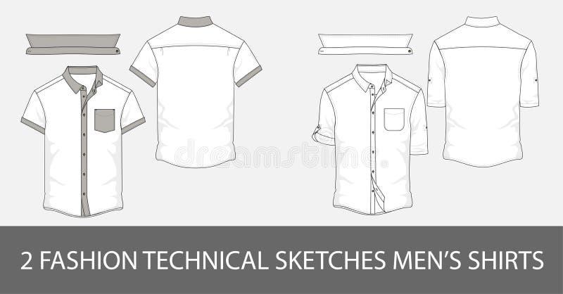 Reeks de mensen` s overhemden van Manier technische schetsen met korte kokers in vector royalty-vrije illustratie