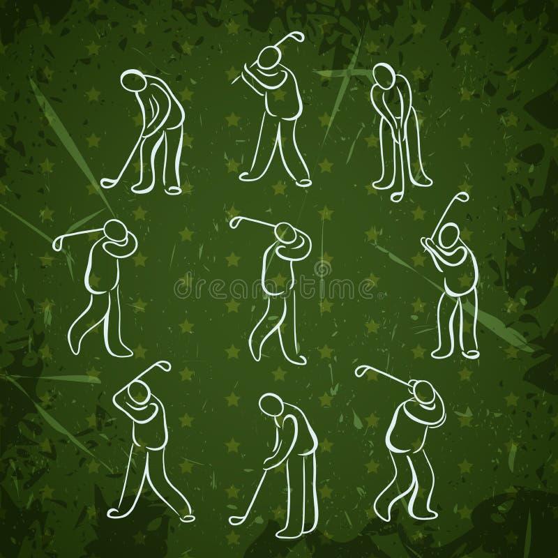 Reeks de mensenposities van de golfsport Ontwerp van golfspeler het speelpictogrammen vector illustratie