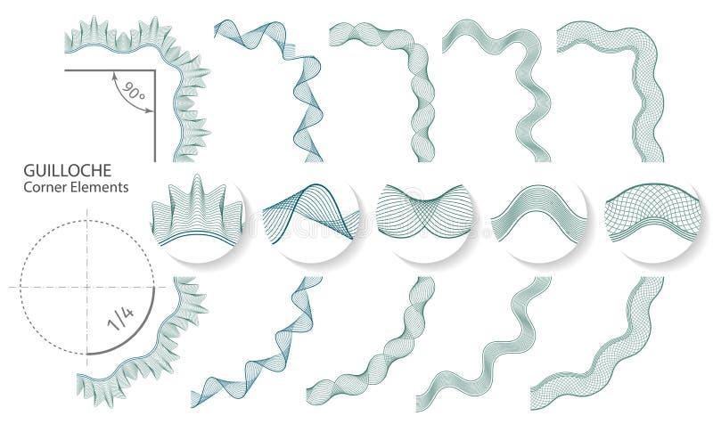 Reeks: De naadloze Guilloche Elementen van de Hoekgrens voor certificaat of diploma, Vector illustratie stock illustratie