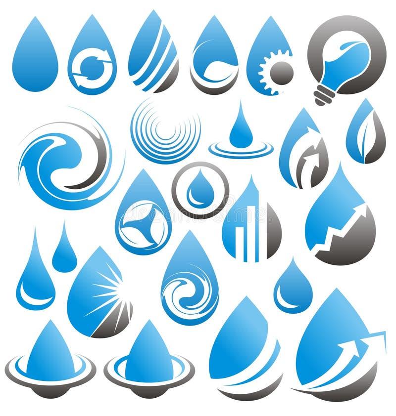 Reeks de pictogrammen van waterdalingen, symbolen, emblemen en ontwerpelementen royalty-vrije illustratie