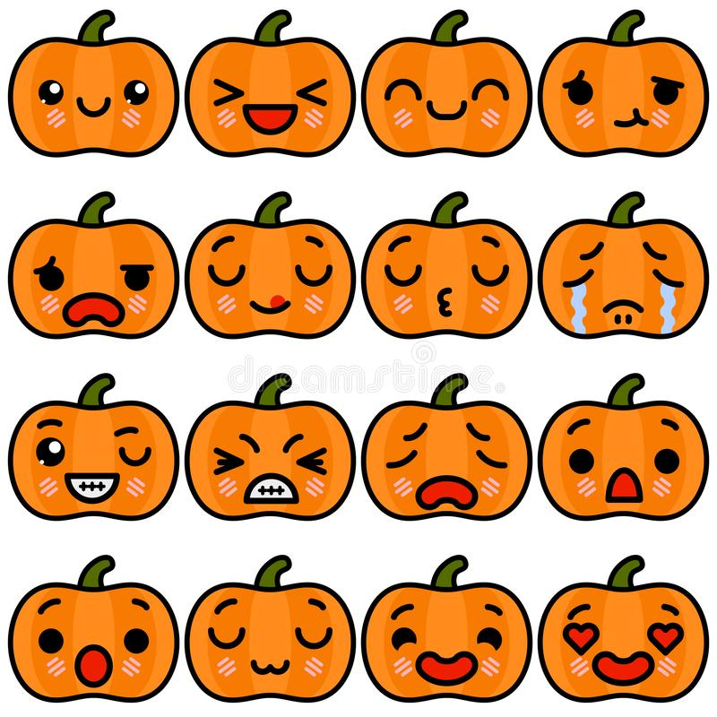 Reeks de Pompoenpictogrammen van emojihalloween met verschillende emoties Vectorillustratie vector illustratie