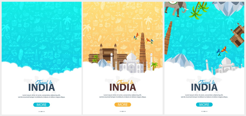 Reeks de reisbanners van India Indische Hand getrokken krabbels op achtergrond Vector illustratie royalty-vrije illustratie