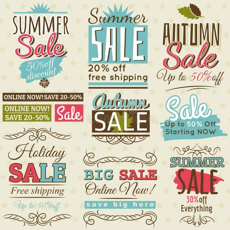 Reeks de speciale etiketten en banners van de verkoopaanbieding royalty-vrije illustratie