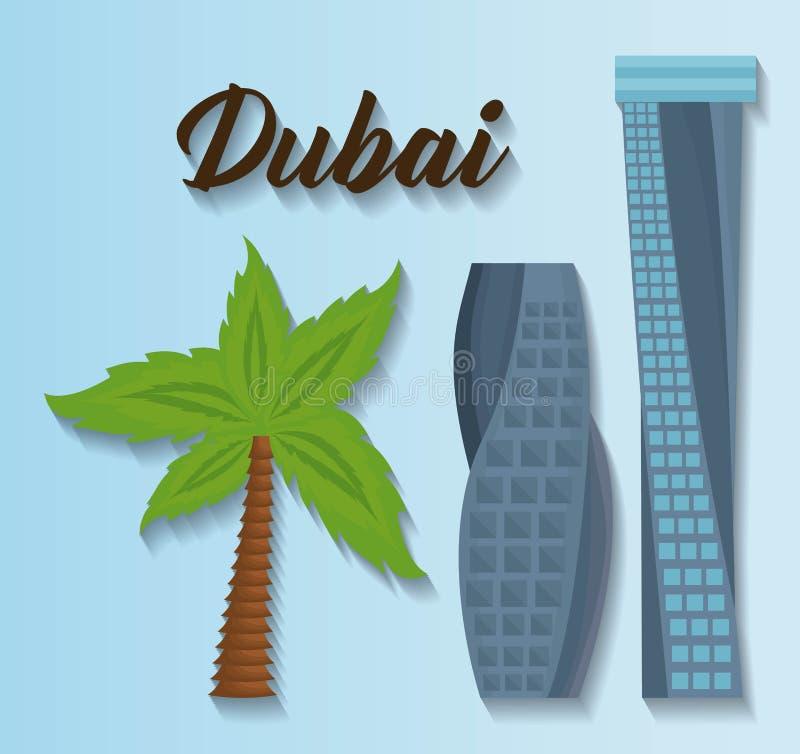 Reeks de stadselementen van Doubai vector illustratie