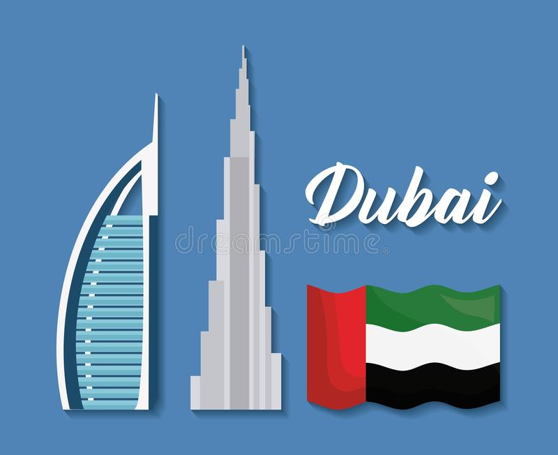 Reeks de stadselementen van Doubai royalty-vrije illustratie