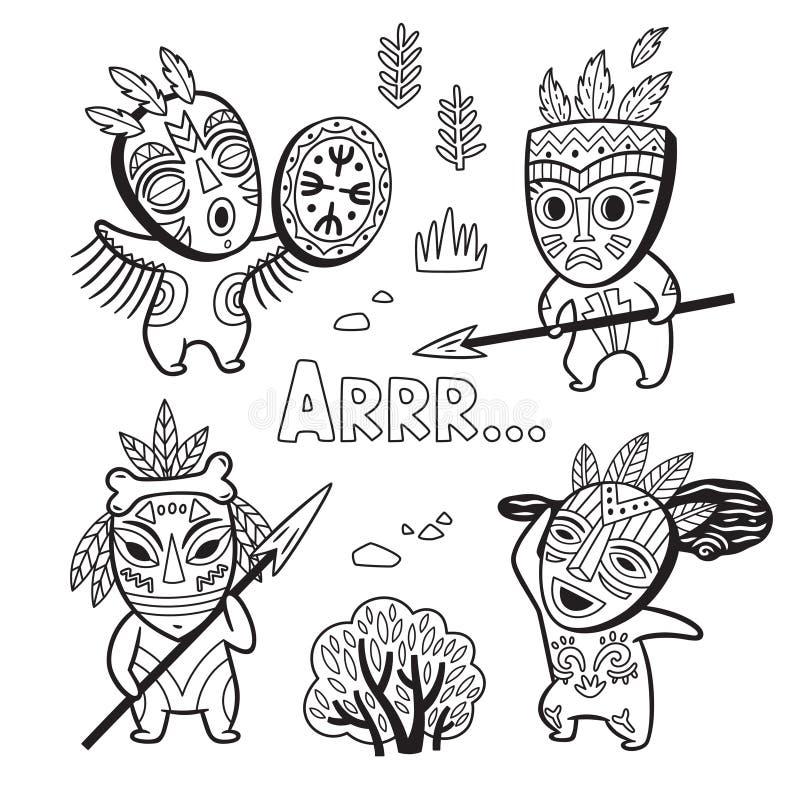 Reeks de stammensen van de steenleeftijd in maskers Kleurende pagina vector illustratie