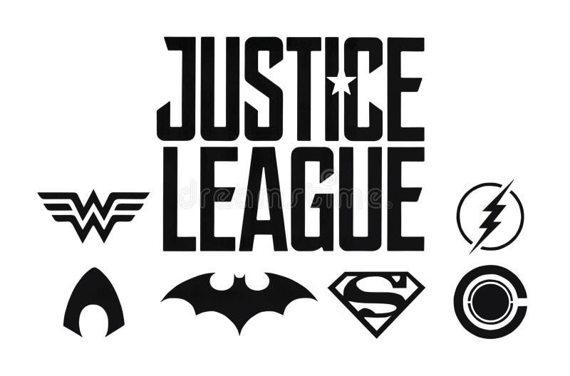 Reeks de strippagina zwarte emblemen van RechtvaardigheidsLeague gelijkstroom stock illustratie