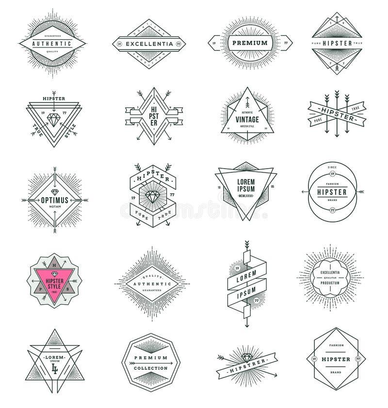 Reeks de tekens en emblemen van de hipsterlijn vector illustratie