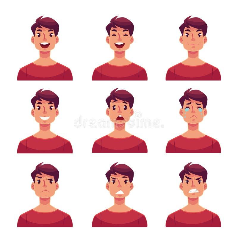 Reeks de uitdrukkingsavatars van het jonge mensengezicht stock illustratie