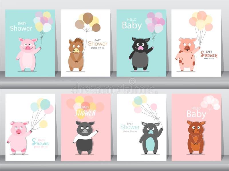 Reeks de uitnodigingenkaarten van de babydouche, affiche, groet, malplaatje, dieren, everzwijnen, varken, varkens, Vectorillustra stock illustratie