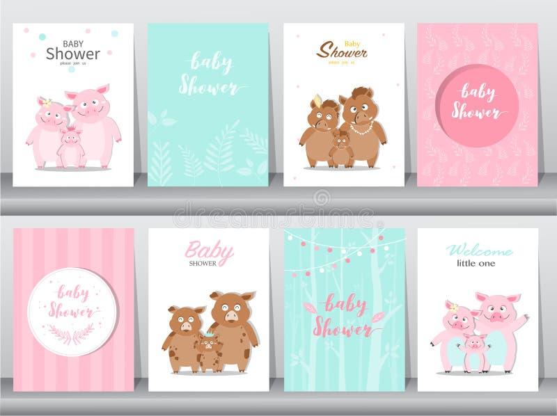 Reeks de uitnodigingenkaarten van de babydouche, affiche, groet, malplaatje, dieren, everzwijnen, varken, varkens, Vectorillustra royalty-vrije illustratie