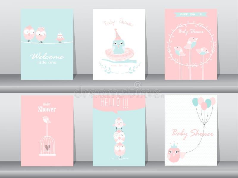 Reeks de uitnodigingskaarten van de babydouche, verjaardagskaarten, affiche vector illustratie