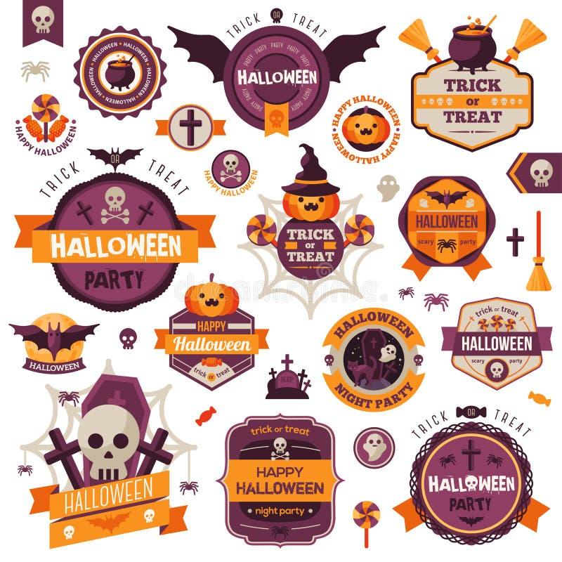 Reeks de Uitstekende Gelukkige Kentekens en Etiketten van Halloween stock illustratie