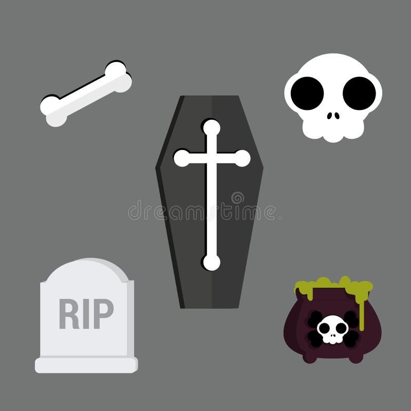 Reeks de Uitstekende Gelukkige Kentekens en Etiketten van Halloween royalty-vrije illustratie