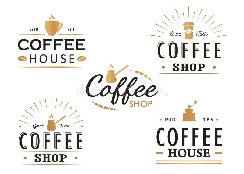 Reeks de uitstekende malplaatjes van het Koffieembleem, kentekens en ontwerpelementen Logotypesinzameling voor koffiewinkel, koff stock illustratie