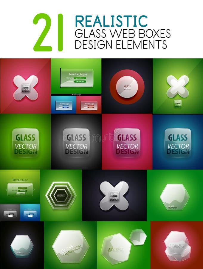 Reeks de vector realistische transparante dozen van het glasweb, ontwerpelementen, Internet-banners of interfaceachtergronden stock illustratie