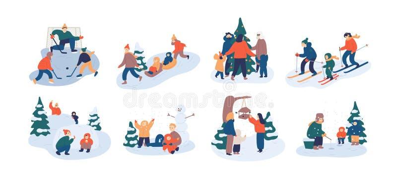 Reeks de vrije tijdsactiviteiten van de familiewinter Moeder, vader en kind die pret hebben in openlucht samen - speelijshockey vector illustratie