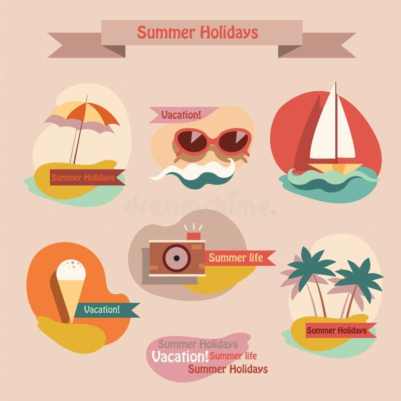 Reeks de zomerelementen royalty-vrije illustratie