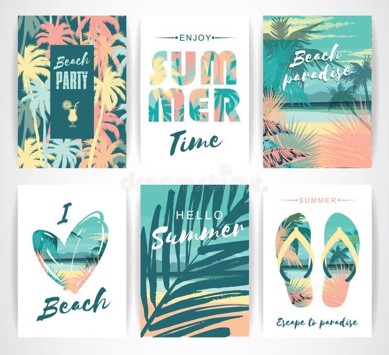 Reeks de zomerkaarten met hand-trekkende elementen vector illustratie