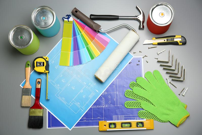 Reeks decorateur` s hulpmiddelen en projecttekeningen royalty-vrije stock fotografie