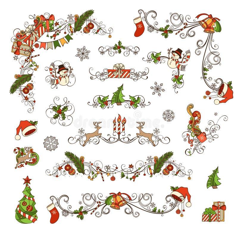 Reeks decoratie en verdelers van de Kerstmis de overladen pagina stock illustratie