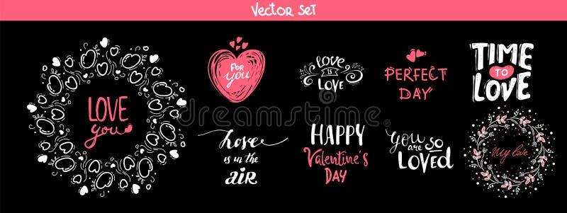 Reeks decoratie van letters voorziende elementen voor valentijnskaartdag, vectorillustratie Hand getrokken 14 Februari etiketten  royalty-vrije illustratie