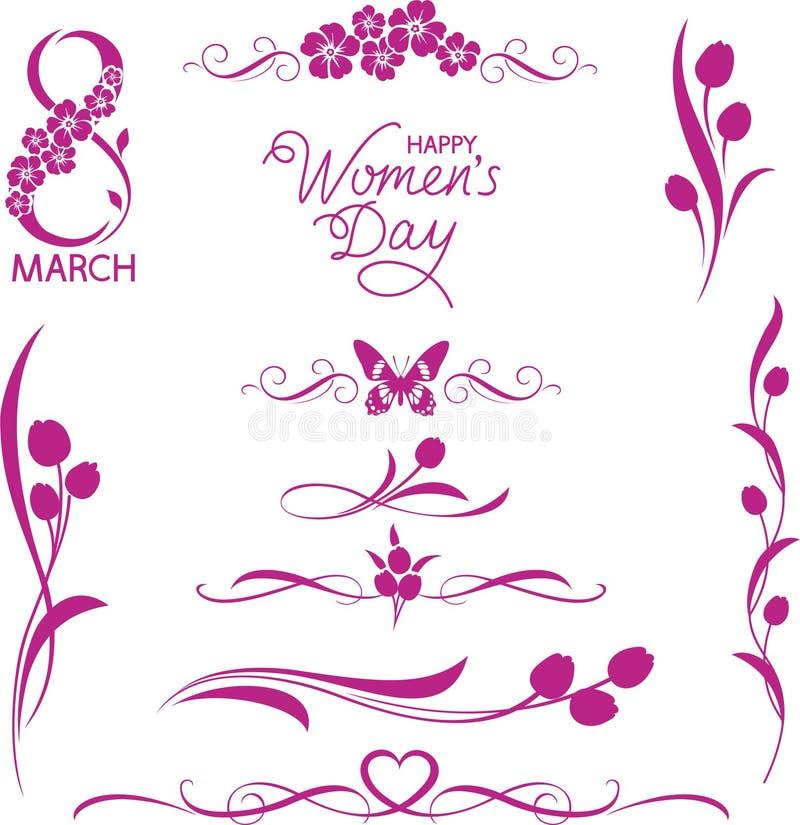 Reeks decoratieve bloemenelementen 8 Maart-vakantie stock illustratie