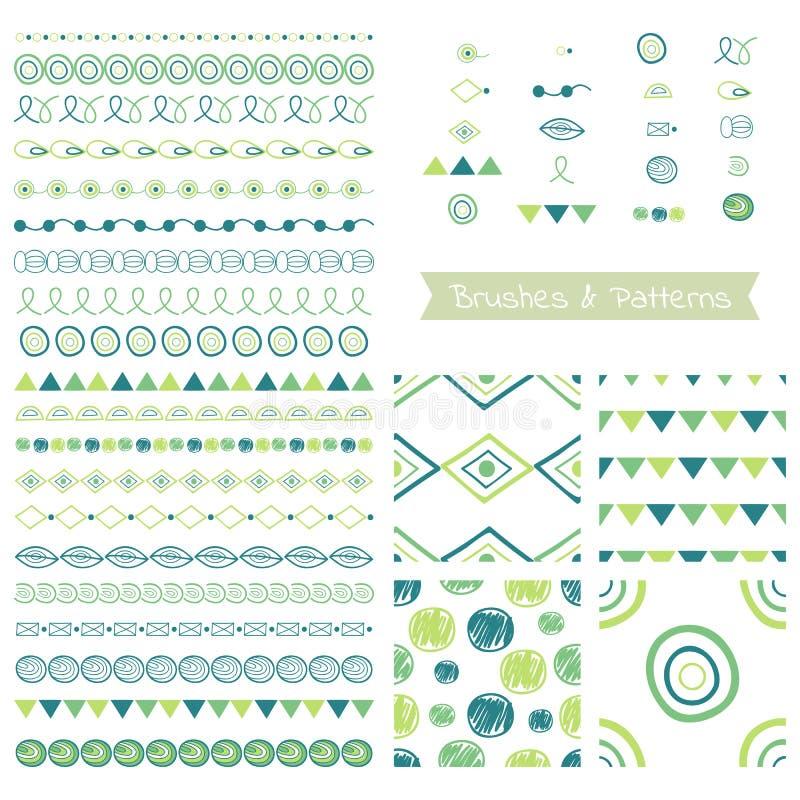 Reeks decoratieve elementen, vectorborstels, grenzen, patronen vector illustratie