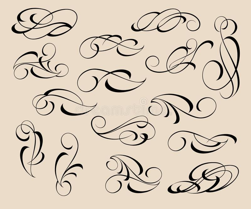 Reeks decoratieve elementen verdelers Vector illustratie royalty-vrije illustratie