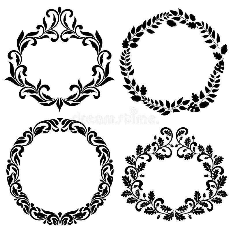 Reeks decoratieve frames Ideaal voor stencil Uitstekende stijl vector illustratie