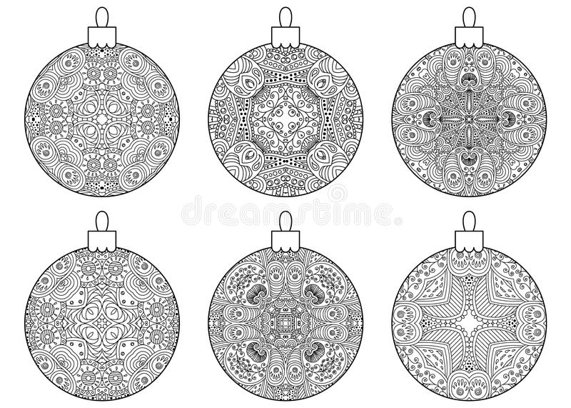 Reeks decoratieve Kerstmisballen royalty-vrije illustratie