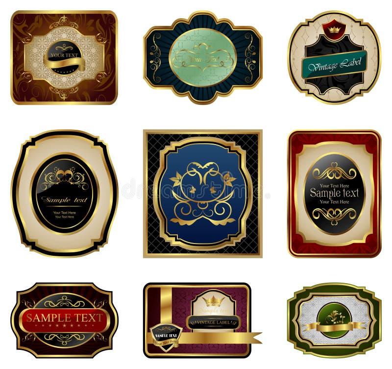 Reeks decoratieve kleuren gouden frames etiketten stock illustratie
