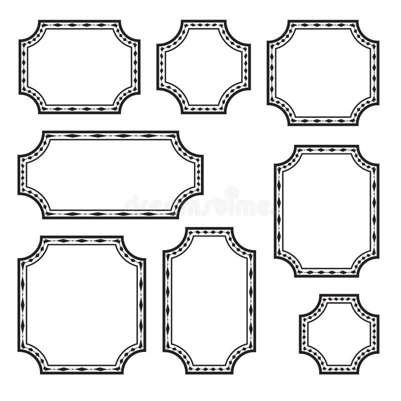 Reeks decoratieve rechthoekige kaders, zwart overzichtsontwerp Vector vector illustratie