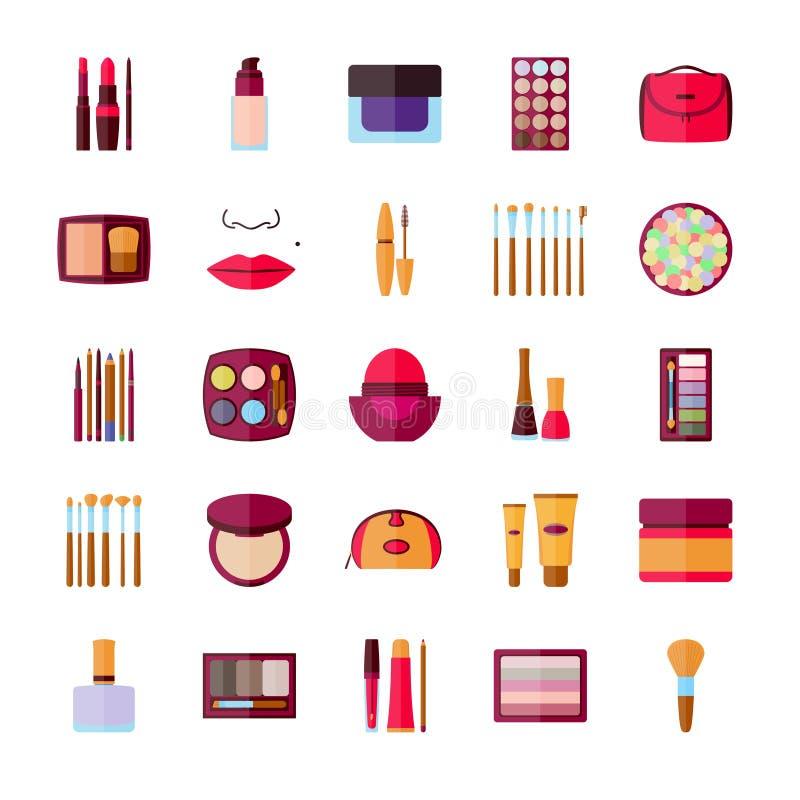 Reeks decoratieve schoonheidsmiddelen voor gezicht, lippen, huid, ogen, spijkers, wenkbrauwen en beautycase vector illustratie