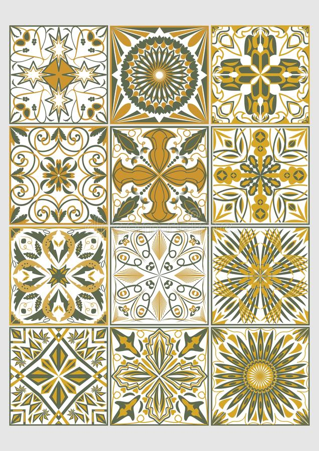 Reeks decoratieve tegels in azulejostijl Traditionele Portugese of Spaanse keramiek Geometrische die patronen met groene olijf wo stock illustratie