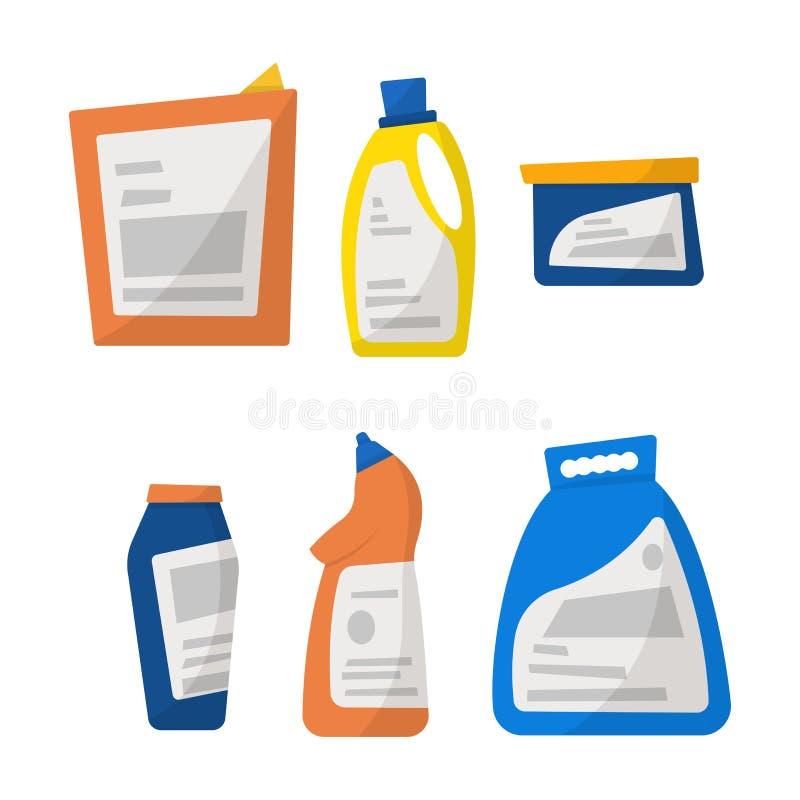 Reeks detergent flessen en containers, het schoonmaken leveringsisola vector illustratie