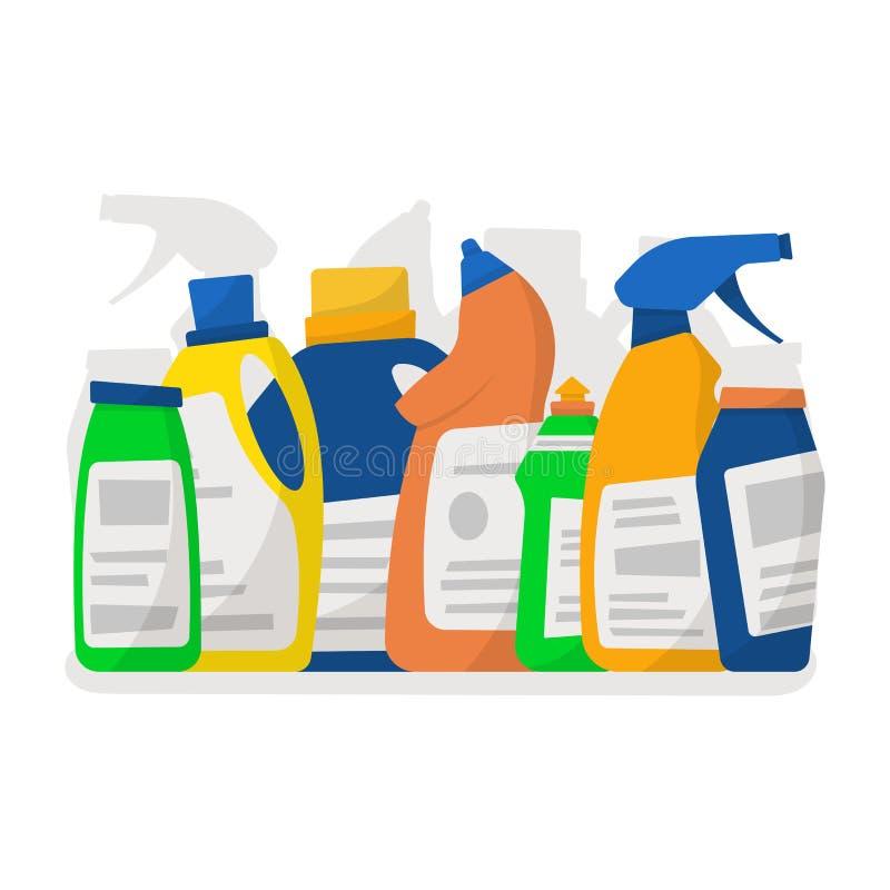Reeks detergent flessen en containers, het schoonmaken leveringsisola royalty-vrije illustratie