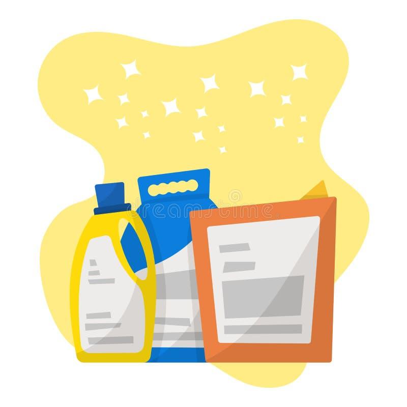 Reeks detergent flessen en containers, het schoonmaken leveringsisola stock illustratie