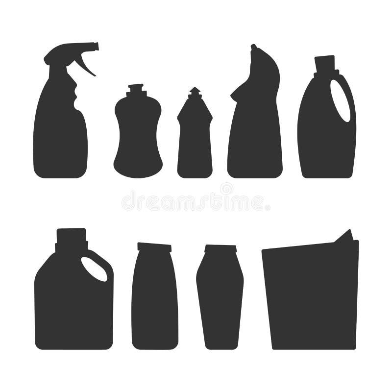 Reeks detergent flessen en containers, het schoonmaken leveringssilho stock illustratie
