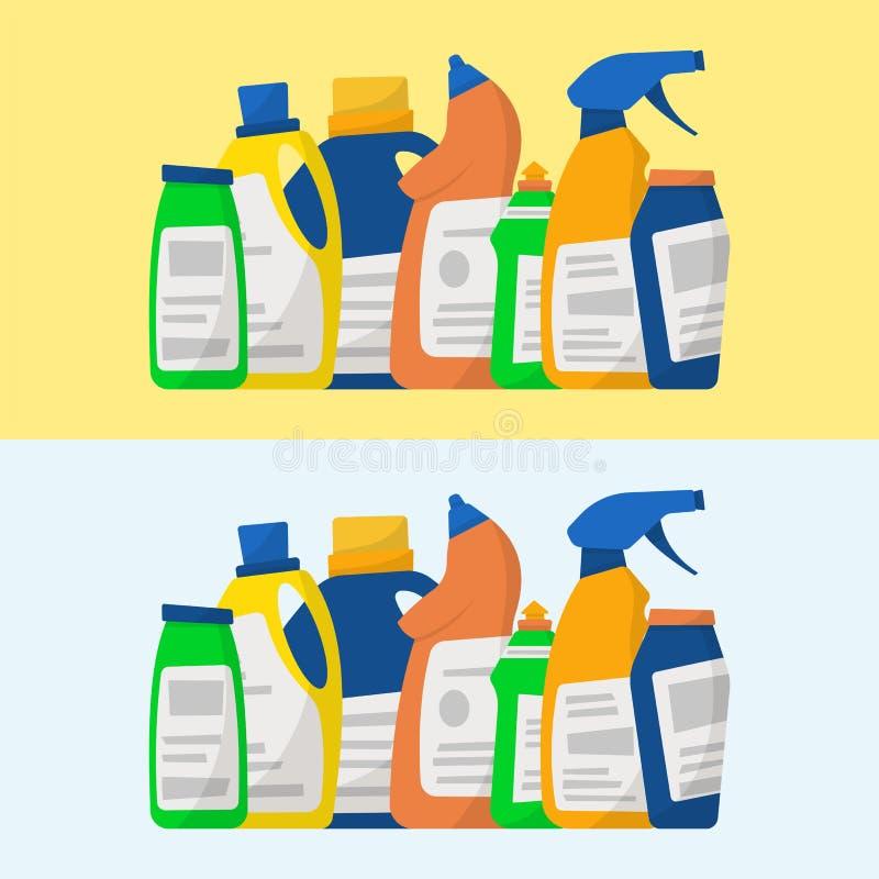 Reeks detergent flessen en containers, schoonmakende levering Vect vector illustratie