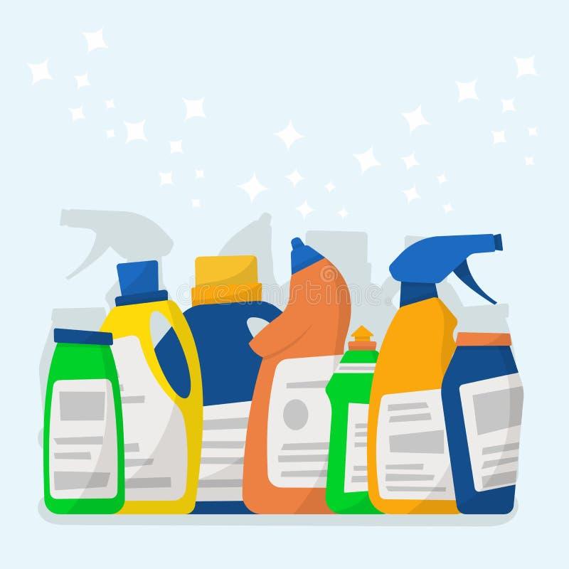 Reeks detergent flessen en containers, schoonmakende levering Vect stock illustratie
