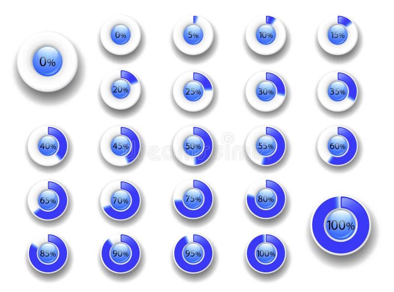 Reeks diagrammen van het cirkelpercentage van 0 tot 100 De bar van de downloadvooruitgang royalty-vrije illustratie