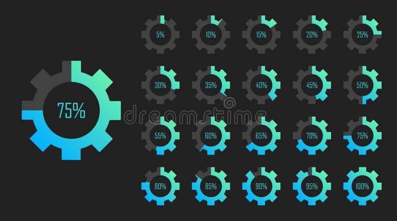 Reeks diagrammen van het cirkelpercentage van 0 tot 100 voor Webontwerp ladingsproces Moderne vectorillustratie vlakke stijl royalty-vrije illustratie