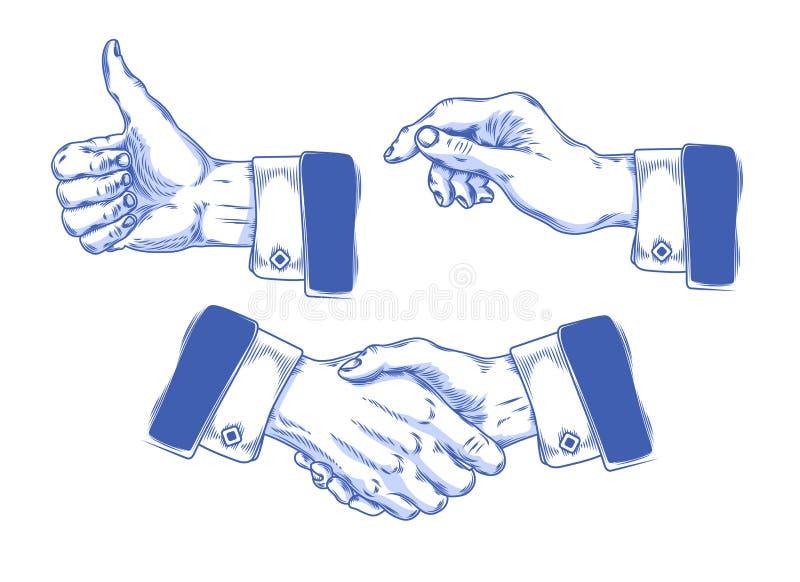 Reeks die handen van pictogrammenmensen diverse gebaren maken royalty-vrije illustratie