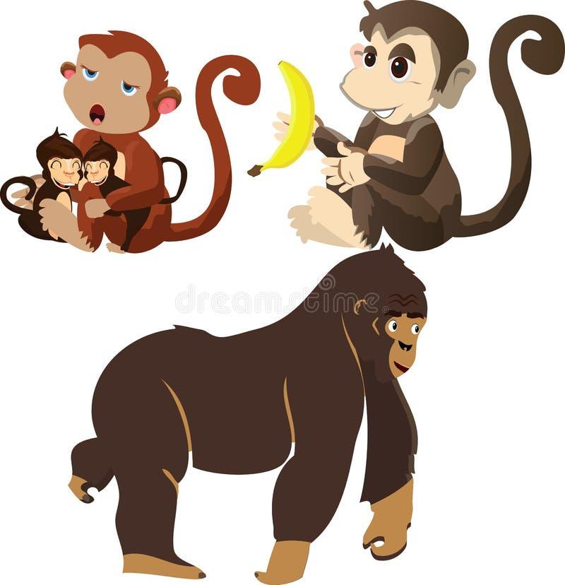 Reeks die van aap verschillende vector rusten op boom royalty-vrije illustratie