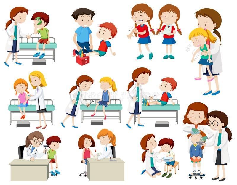 Reeks die van arts zieke kinderen helpen stock illustratie