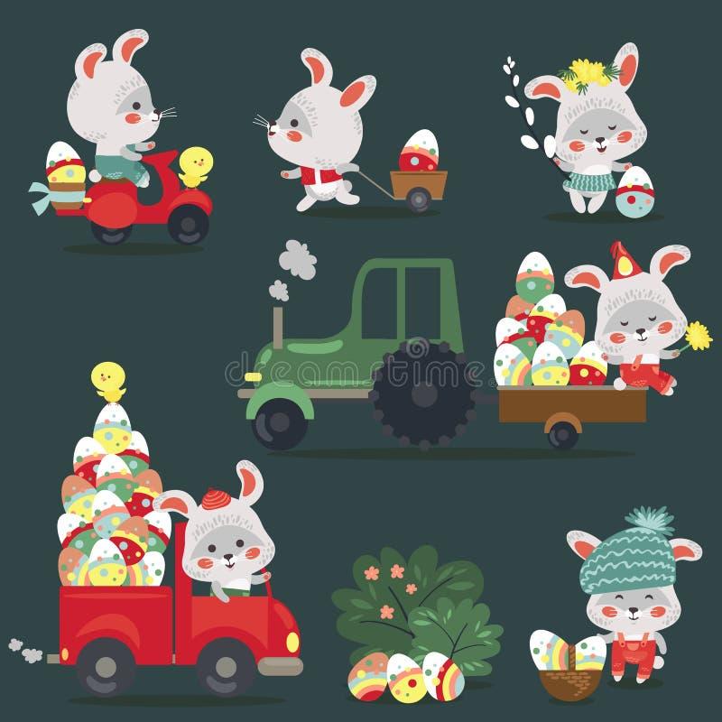 Reeks die van de auto van de Paashaasaandrijving met vrachtwagen, verfraaide eierenjager volledige mand, leuke witte konijn autob royalty-vrije illustratie